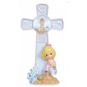 "Precious Moments ""When You Only Saw One Set of Footprints\"" Girl Cross with Easel Stand"