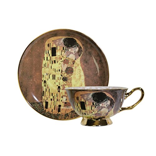 World Famous Art Collection Portrait Series Tea Cup & Saucer Set (Gustav Klimt The Kiss (Lovers))