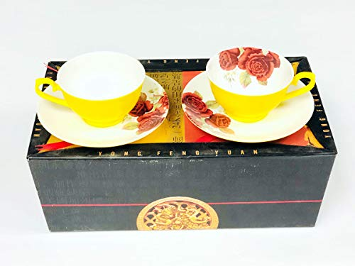 Teacup Set Yellow Red Rose Bone China 2-Cups & 2-Saucers