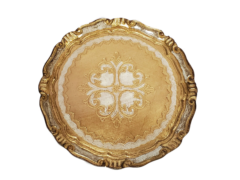Florentine Oval Tray Wood Hand Painted in Firenze Italy 9.5""