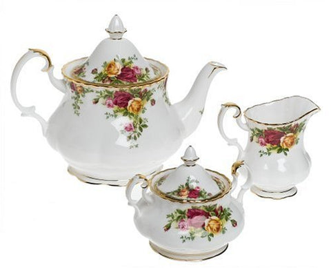Royal Albert Old Country Roses 3-Piece Tea Set [Kitchen] by Royal Doulton