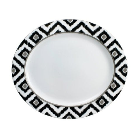 Mikasa Ikat Black Oval Serving Platter, 14-3/4-Inch by 13-Inch