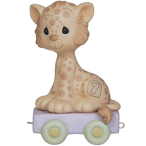 Precious Moments 142027 Birthday Gifts, Wishing You GRR-Eatness, Birthday Train Age 7, Bisque Porcelain Figurine