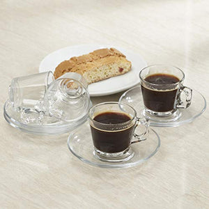 Pasabahce Barista Glass Espresso Cup & Saucer - Set of 4 (Clear)
