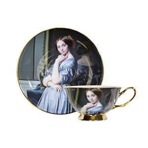 World Famous Art Collection Portrait Series Tea Cup & Saucer Set (Jean-Auguste-Dominique Ingres Louise de Broglie, Contesse d'Haussonville)