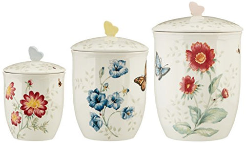 LENOX 813478 Butterfly Meadow 3-Piece Canister Set, 6.6 LB, Multi