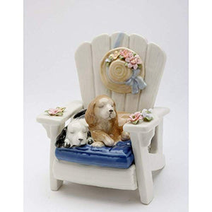 "Cosmos 20909 Dog on Chair Ceramic Musical, 7-1/4"" High"