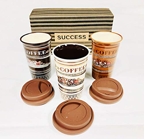 Success Coffee Mugs With Silicone Lids Set of 3