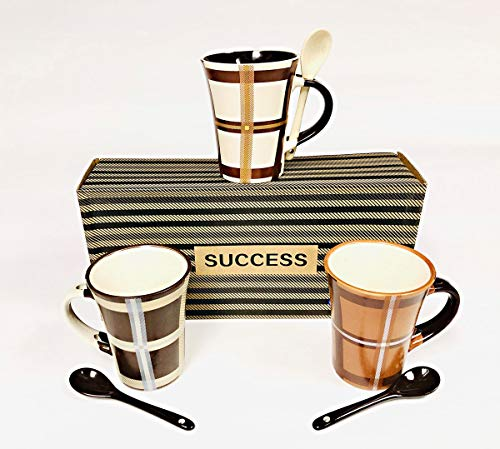 Success Coffee Mugs Set 3 Mugs 3 Spoons 6 Piece Set Tartan Style