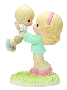 Precious Moments 154002, Your Love Lifts Me Bisque Porcelain Figurine, Mother and Son
