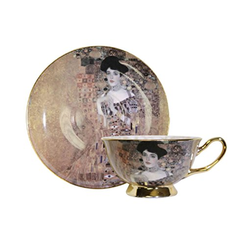 "World Famous Art Collection Portrait Series Tea Cup & Saucer Set (Gustav Klimt ""Portrait of Adele Bloch-Bauer I The Lady in Gold The Woman in Gold"")"