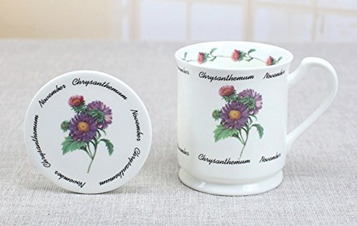 MUG NOVEMBER CHRYSANTHEMUM BONE CHINA WITH COVER