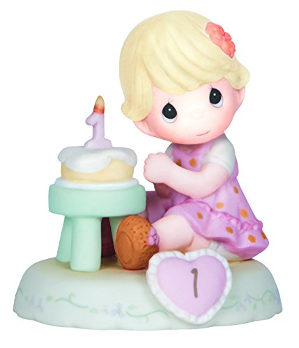 "Precious Moments 142010 Birthday Gifts, Growing in Grace, Age 1"", Bisque Porcelain Figurine, Blonde Girl"