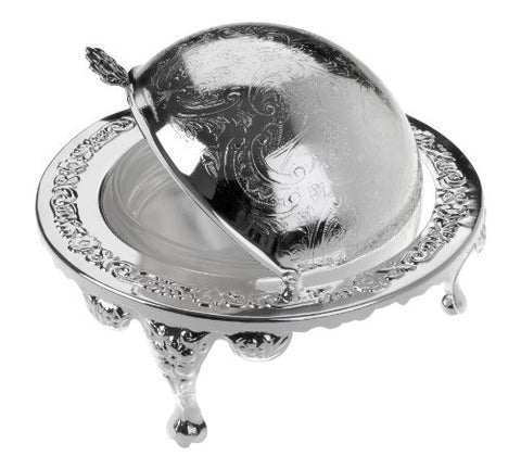 Butter Dish with Revolving Lid Silver Plated British Made with tarnish resistant finish that never needs polishing by Queen Anne