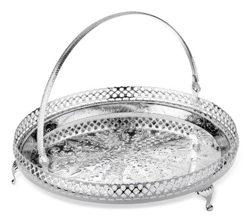 "Queen Anne Gallery Tray 9"" Round with Handle Tarnish Resistant Silver-Plated"