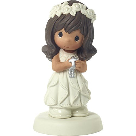 Precious Moments 172081 May His Light Shine in Your Heart Today & Always Medium Skin Tone First Communion Bisque Porcelain Figurine, One Size, Brunette Hair Girl