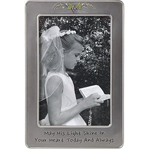 Precious Moments 172408 May His Light Sine in Your Heart Today & Always First Communion Silver Zinc Alloy 4 X 6 Photo Frame, One Size, Multi