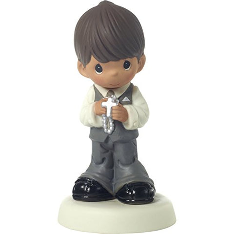Precious Moments 172082 May His Light Shine in Your Heart Today & Always Medium Skin Tone First Communion Bisque Porcelain Figurine, One Size, Brown Hair Boy