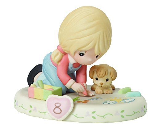 "Precious Moments 154035 Birthday Gifts, Growing in Grace, Age 8"", Bisque Porcelain Figurine, Blonde Girl"