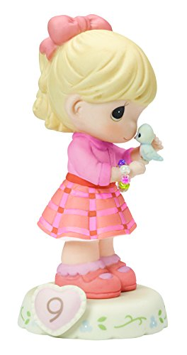 "Precious Moments 154036 Birthday Gifts, Growing in Grace, Age 9"", Bisque Porcelain Figurine, Blonde Girl"