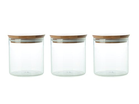 Maxwell & Williams Peek Canister-Bamboo Lids-Set of 3, Clear