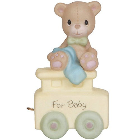 "Precious Moments, Birthday Gifts, ""May Your Birthday Be Warm"", Birthday Train Baby, Bisque Porcelain Figurine, 142020"