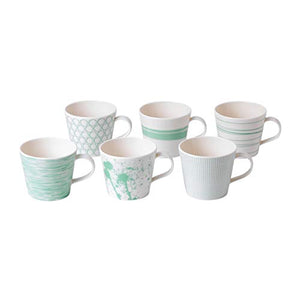 Royal Doulton 1052192 Pacific Mug 390ml Mixed, Set of 6, 0.45ltr, Mint