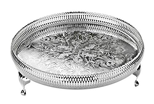 Queen Anne Tray Silver Plated 28-cm Round Gallery Style with Legs