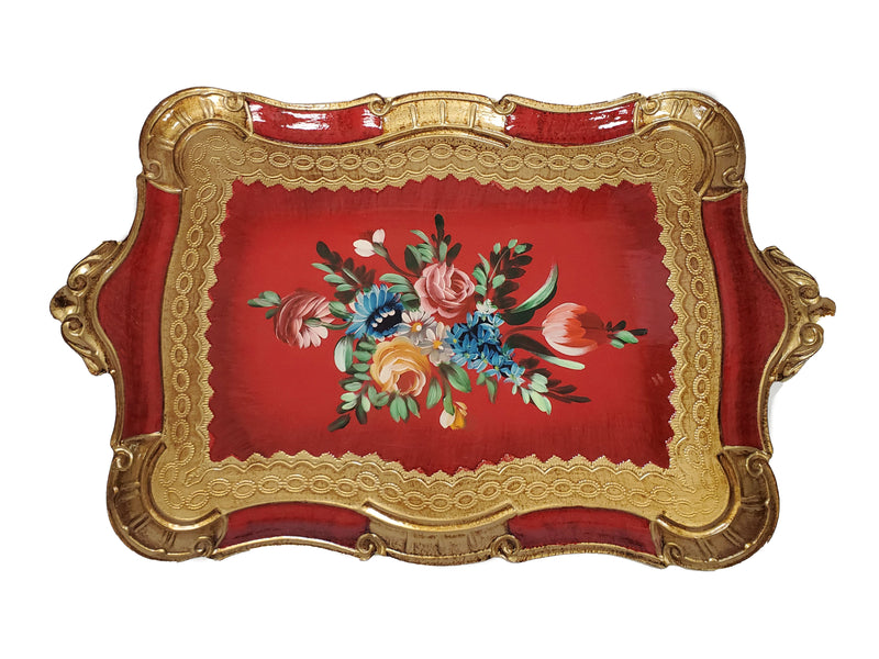 "Florentine Tray Wood Hand Painted in Firenze Italy 19""L x 12""W"