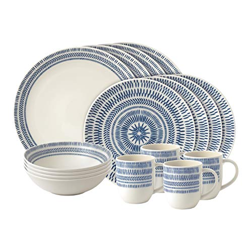 Royal Doulton 16pc Set Chevron, Porcelain, Dark Blue, 36.2 x 27.8 x 30.6 cm