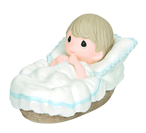 "Precious Moments 143012 Baptism Gifts, ""Baptized in His Name"", Boy, Bisque Porcelain Figurine"