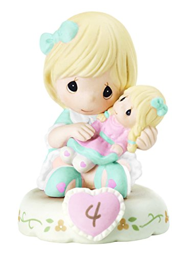 "Precious Moments 152010""Growing in Grace, Age 4"" Girl Bisque Porcelain Figurine Birthday Gift, Blonde"