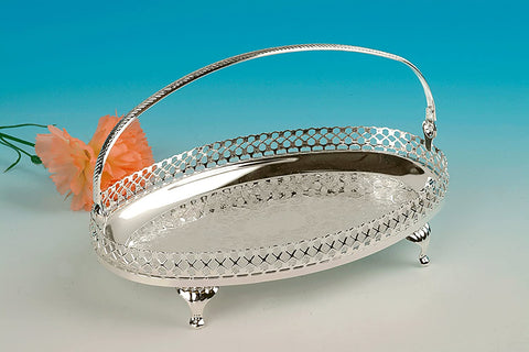 Queen Anne Made in England Oval Footed Silver Plated Tray with Handle 23x15cm