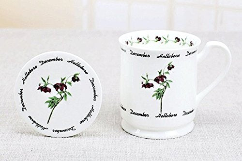 MUG DECEMBER HELLEBORE FLOWER BONE CHINA WITH COVER