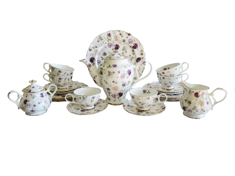 Peonies 24-Piece Tea Set