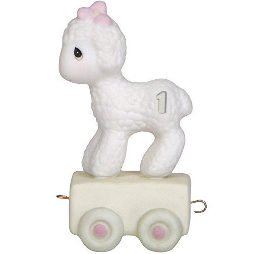 Precious Moments 142021 Birthday Gifts, Happy Birthday Little Lamb, Birthday Train Age 1, Bisque Porcelain Figurine