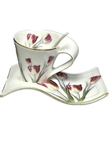 Hampstead Collection Tulip Gift Mug with Saucer & Spoon Set (200ml)