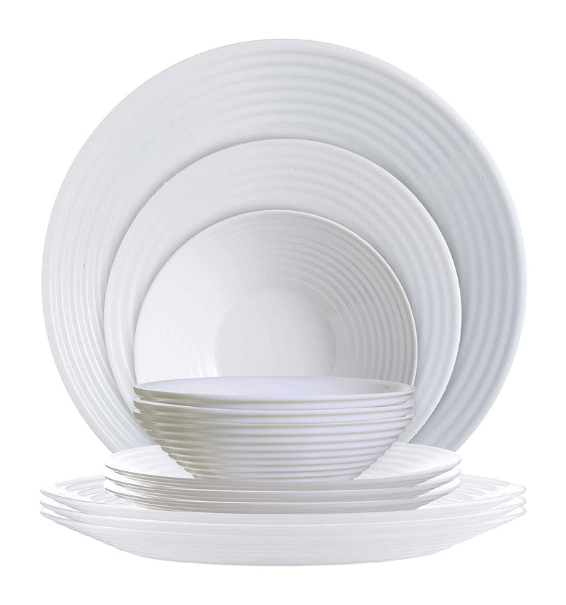 Luminarc Harena 12-Piece Dinnerware Set, White