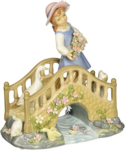 "Cosmos 8.5"" Girl on Bridge Over Stream with Flowers Ceramic Figurine"