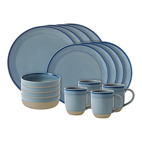 ED Ellen DeGeneres Crafted by Royal Doulton Brushed Glaze 16-Piece Dinnerware Set in Polar Blue