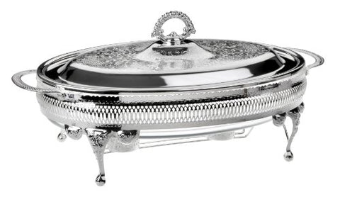 Casserole Oval 42cm with Lid & Warmers Silver Plated Tarnish Resistant Made in England