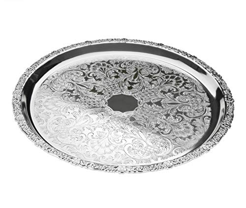 "Queen Anne Tray Flat Round Silver Plated 14"" Patterned Rim 35cm"