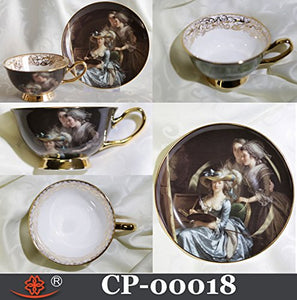 Cup & Saucer Victorian Style SELF Portrait with Pupils HIGH Quality Bone China Made in Canada