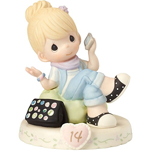 "Precious Moments 162013 Birthday Gifts, Growing in Grace, Age 14"", Bisque Porcelain Figurine, Blonde Girl"