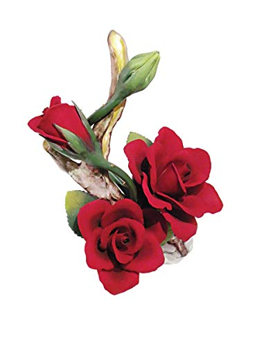 Roses and a Bud on a Stem (Red) Porcelain Flower Hand Made in Italy