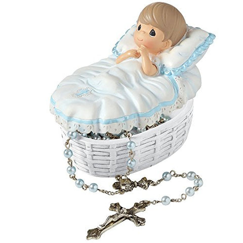Precious Moments 153407 Baptism Gift, Baptized in His Name Resin Box with Rosary for Boy