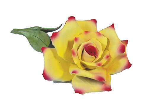 Rose (Yellow & Pink) Porcelain Flower Hand Made in Italy