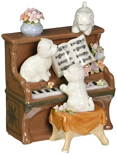 Cosmos 3 White Puppies Climbing Atop Brown Piano with Sheet Music Statue