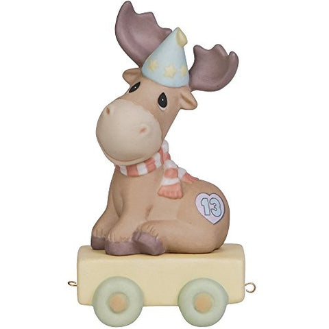 "Precious Moments, Birthday Gifts, ""You Mean The Moose to Me"", Birthday Train Age 13, Bisque Porcelain Figurine, 142033"