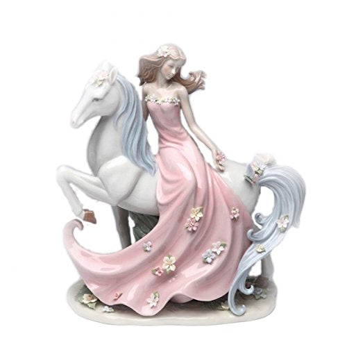 "Cosmos Lady in Pink Dress Riding White Horse 11.75"" Porcelain Statue"